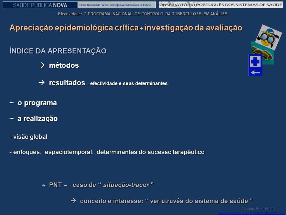 Apreciação epidemiológica crítica + investigação da avaliação