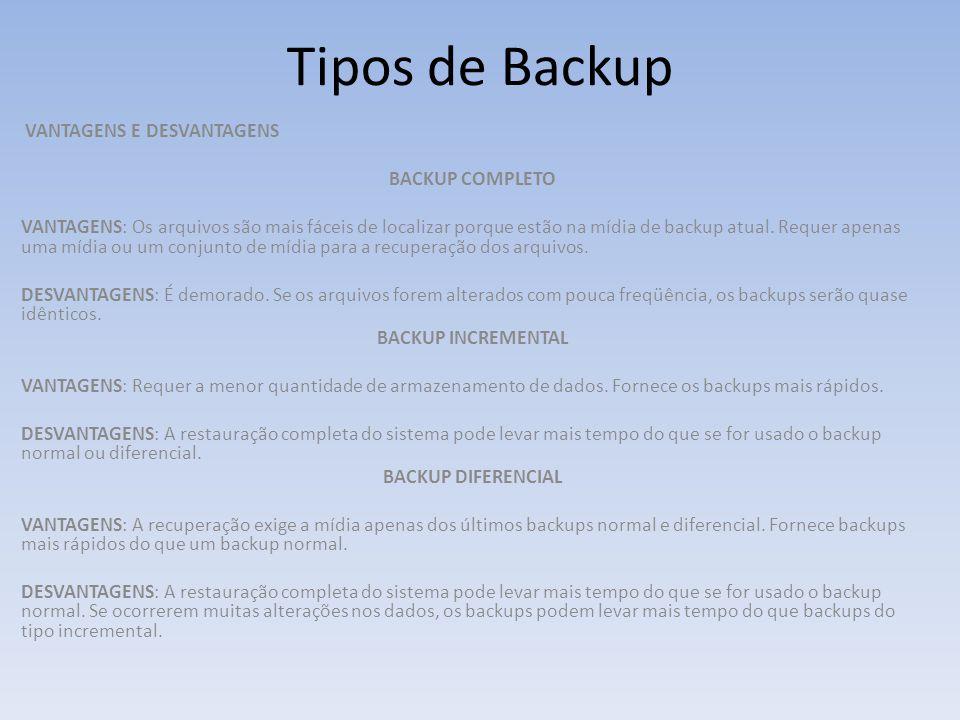 Tipos de Backup VANTAGENS E DESVANTAGENS BACKUP COMPLETO