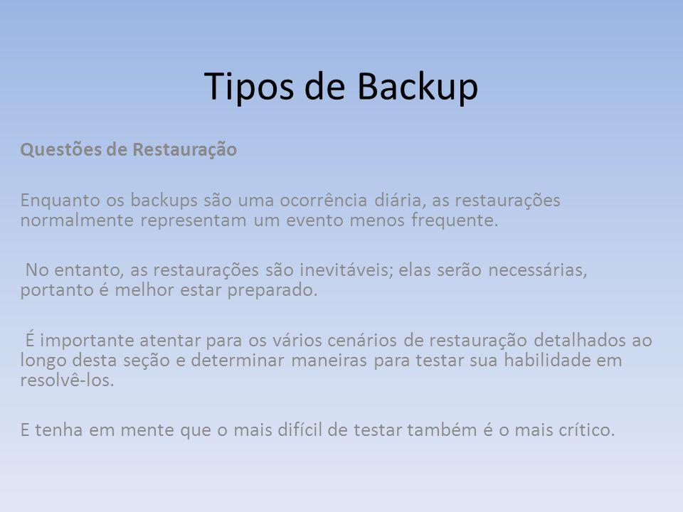 Tipos de Backup Questões de Restauração