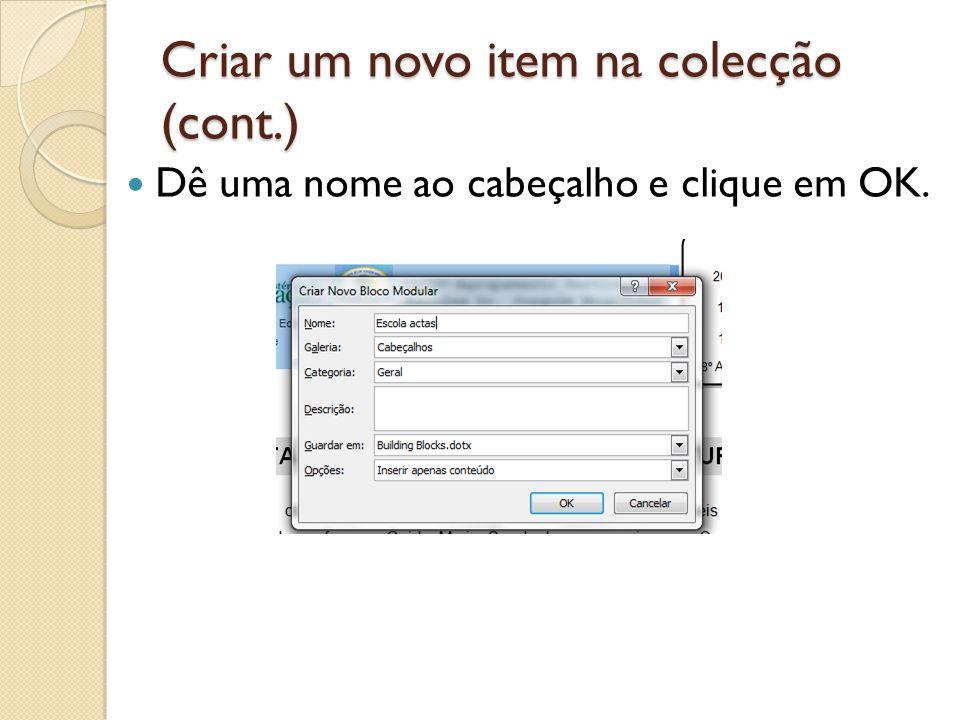 Criar um novo item na colecção (cont.)