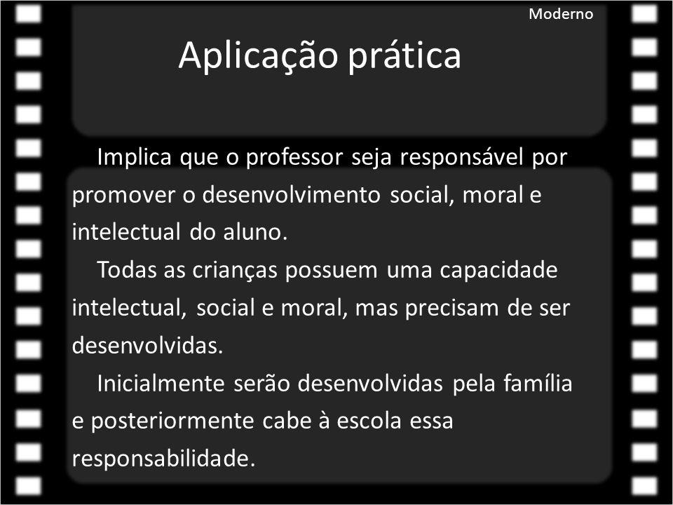 Aplicação prática Implica que o professor seja responsável por