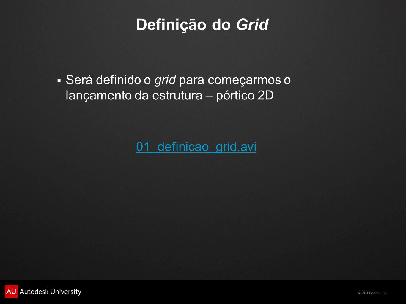 Definição do Grid Será definido o grid para começarmos o lançamento da estrutura – pórtico 2D.