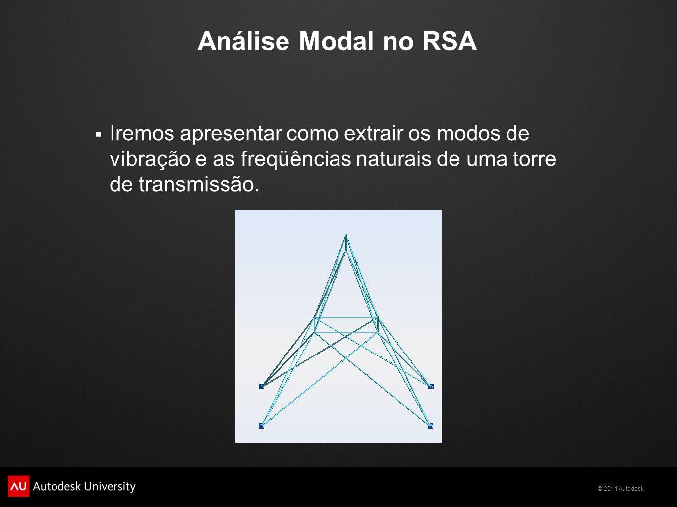 Análise Modal no RSA Iremos apresentar como extrair os modos de vibração e as freqüências naturais de uma torre de transmissão.