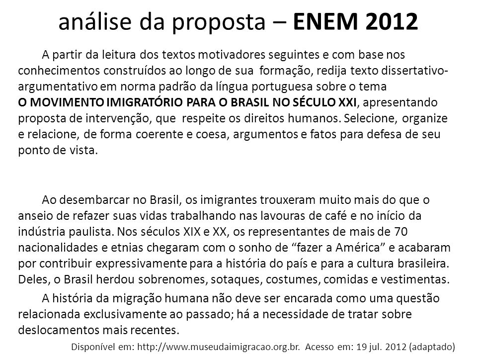 análise da proposta – ENEM 2012
