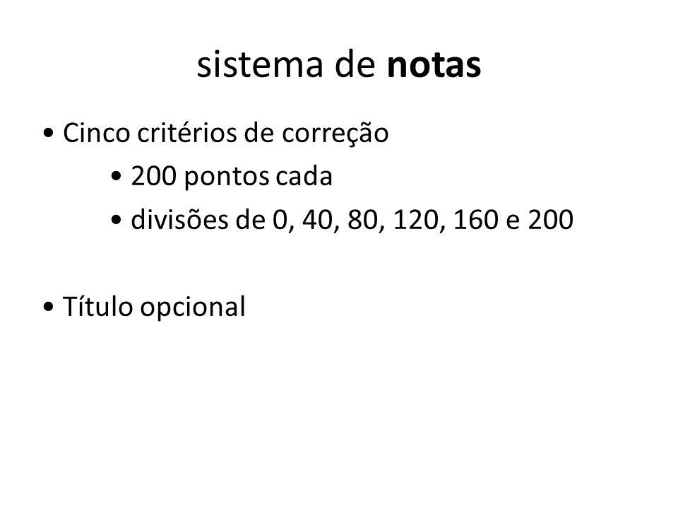 sistema de notas • Cinco critérios de correção • 200 pontos cada • divisões de 0, 40, 80, 120, 160 e 200 • Título opcional