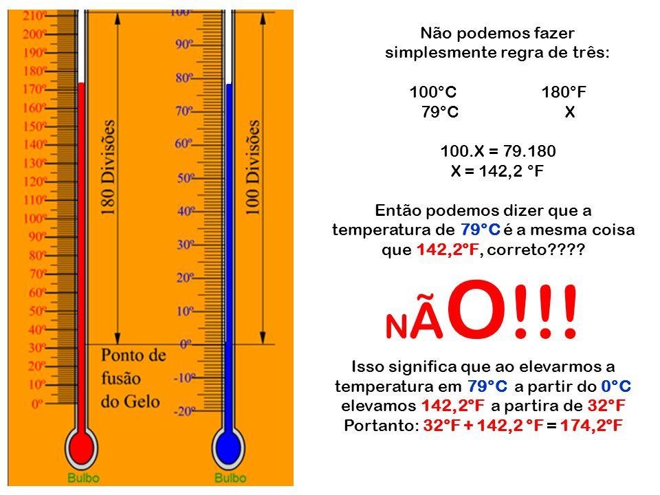 NÃO!!! Não podemos fazer simplesmente regra de três: 100°C 180°F