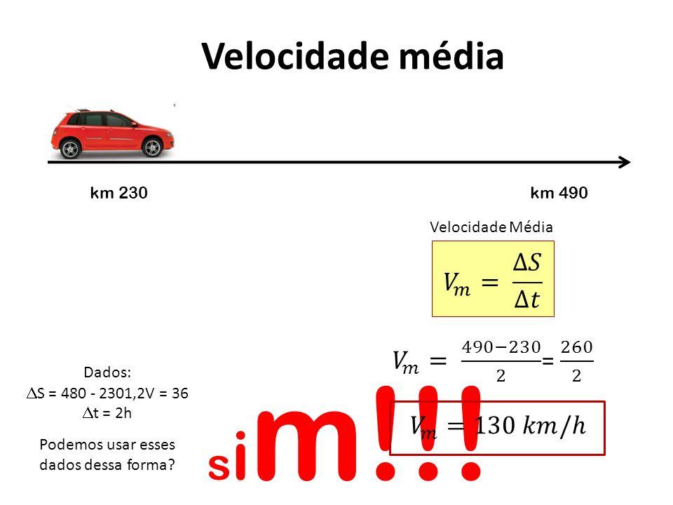 sim!!! Velocidade média 𝑉 𝑚 = ∆𝑆 ∆𝑡 𝑉 𝑚 = 490−230 2 = 260 2