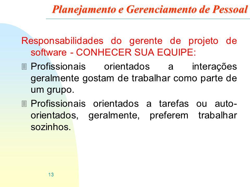 Planejamento e Gerenciamento de Pessoal