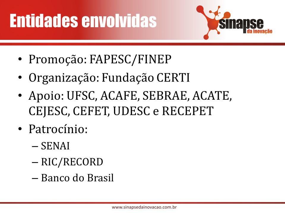 Entidades envolvidas Promoção: FAPESC/FINEP