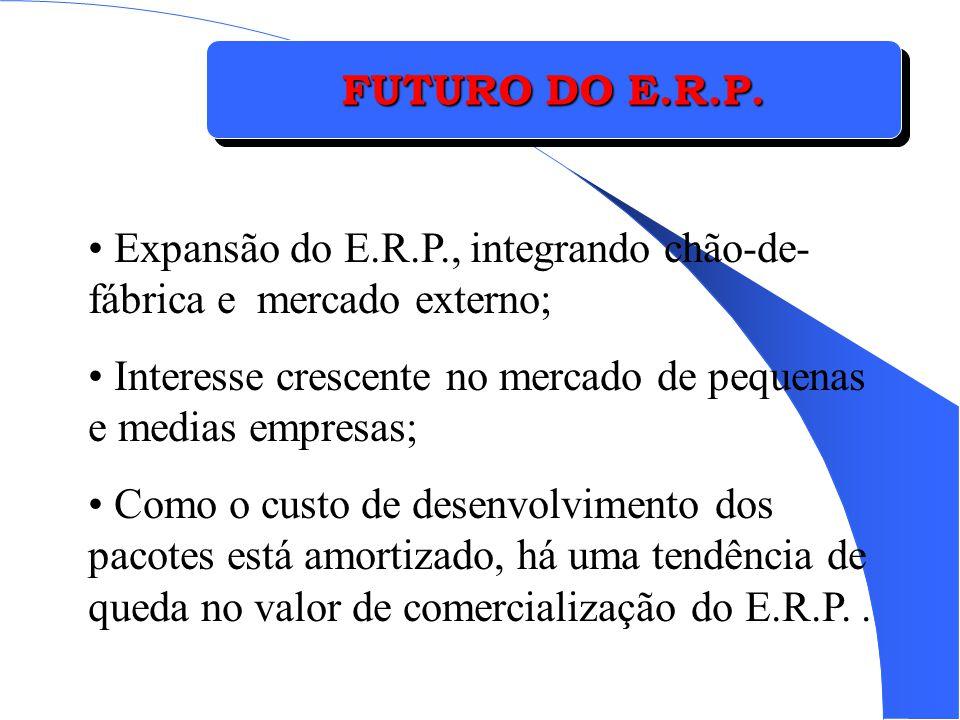 FUTURO DO E.R.P. Expansão do E.R.P., integrando chão-de-fábrica e mercado externo; Interesse crescente no mercado de pequenas e medias empresas;