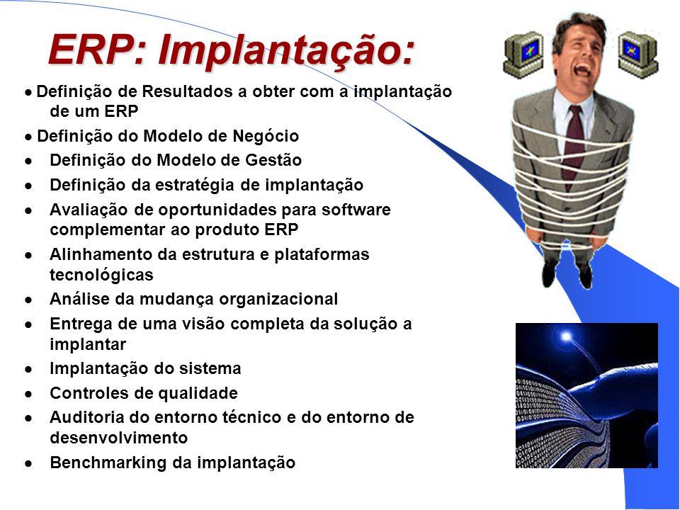 ERP: Implantação: · Definição de Resultados a obter com a implantação de um ERP. · Definição do Modelo de Negócio.