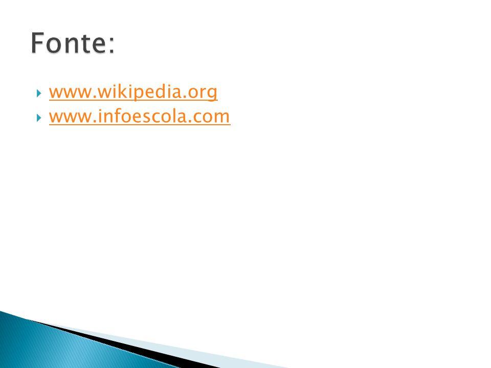 Fonte: www.wikipedia.org www.infoescola.com
