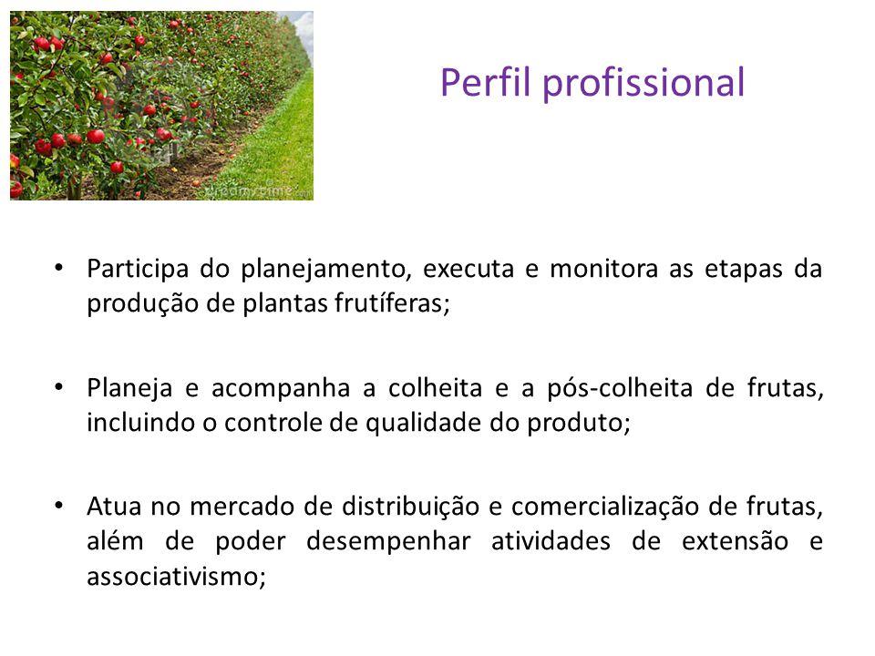 Perfil profissional Participa do planejamento, executa e monitora as etapas da produção de plantas frutíferas;