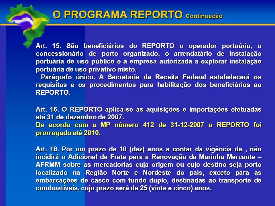O PROGRAMA REPORTO Continuação