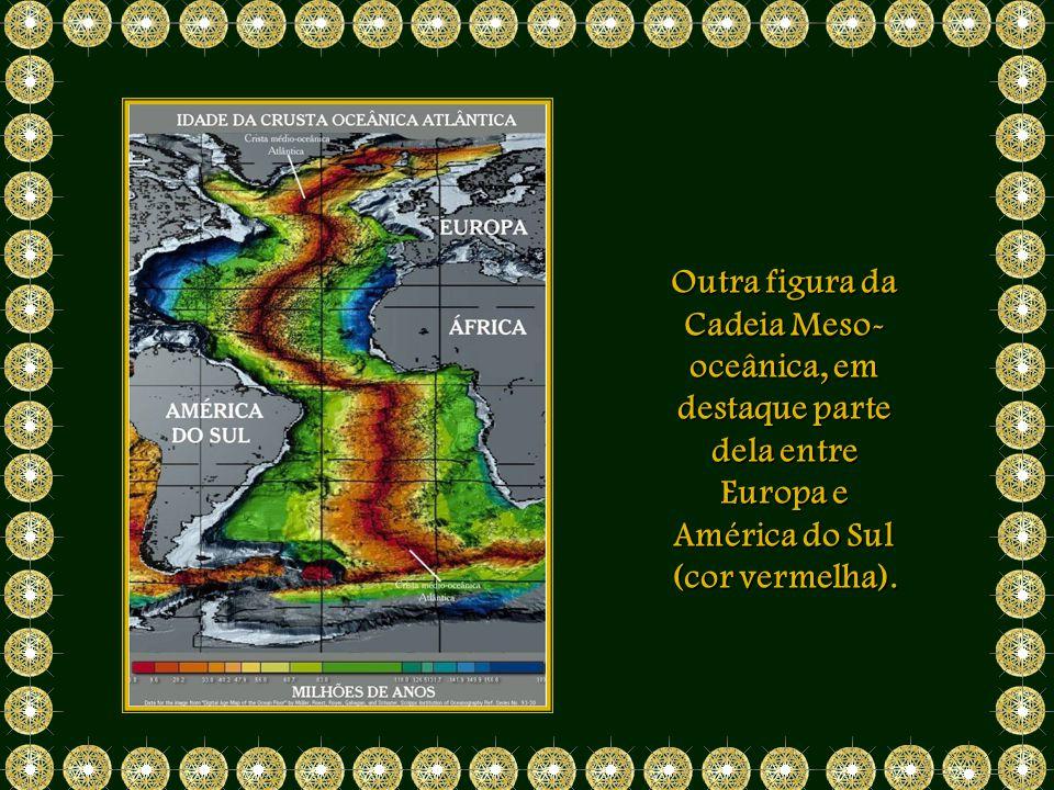 Outra figura da Cadeia Meso-oceânica, em destaque parte dela entre Europa e América do Sul (cor vermelha).