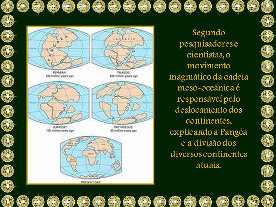Segundo pesquisadores e cientistas, o movimento magmático da cadeia meso-oceânica é responsável pelo deslocamento dos continentes, explicando a Pangéa e a divisão dos diversos continentes atuais.