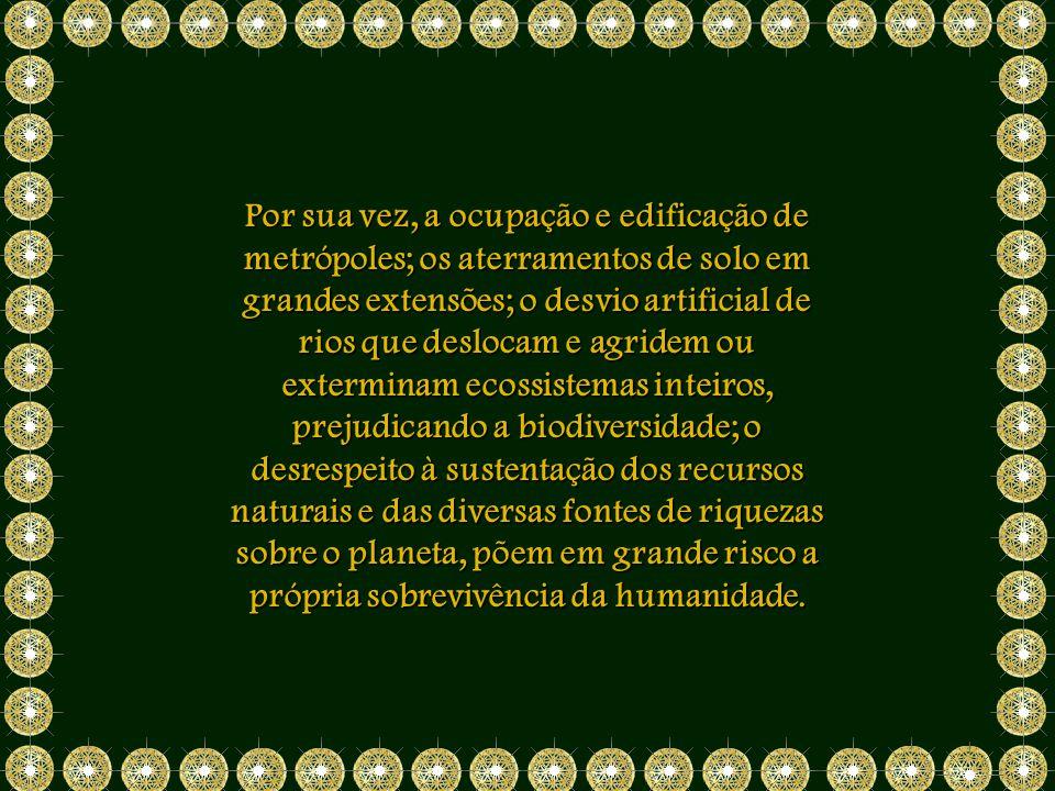 Por sua vez, a ocupação e edificação de metrópoles; os aterramentos de solo em grandes extensões; o desvio artificial de rios que deslocam e agridem ou exterminam ecossistemas inteiros, prejudicando a biodiversidade; o desrespeito à sustentação dos recursos naturais e das diversas fontes de riquezas sobre o planeta, põem em grande risco a própria sobrevivência da humanidade.