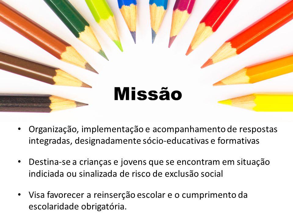 Missão Organização, implementação e acompanhamento de respostas integradas, designadamente sócio-educativas e formativas.