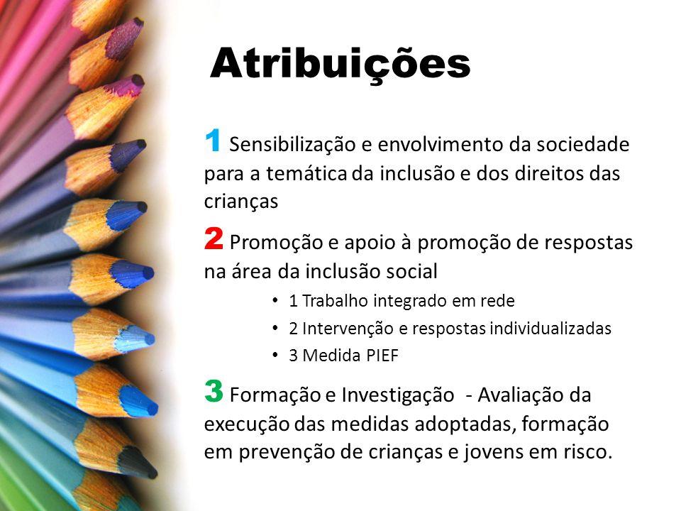 Atribuições 1 Sensibilização e envolvimento da sociedade para a temática da inclusão e dos direitos das crianças.