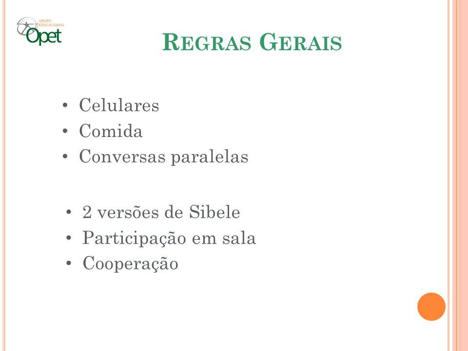 Regras Gerais Celulares Comida Conversas paralelas 2 versões de Sibele