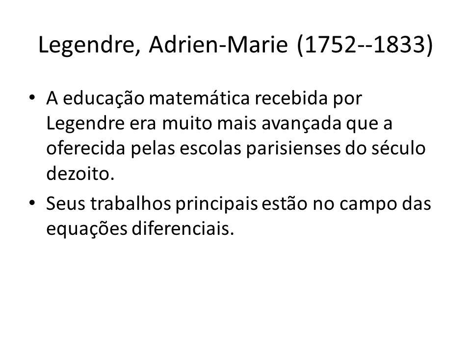 Legendre, Adrien-Marie (1752--1833)