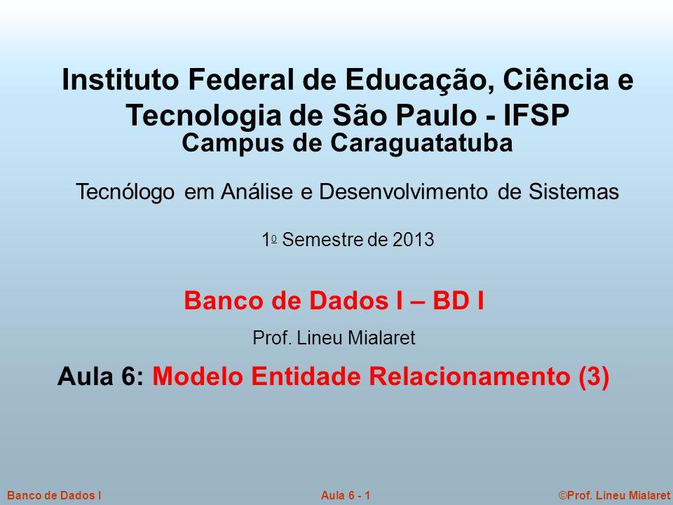 Campus de Caraguatatuba Aula 6: Modelo Entidade Relacionamento (3)