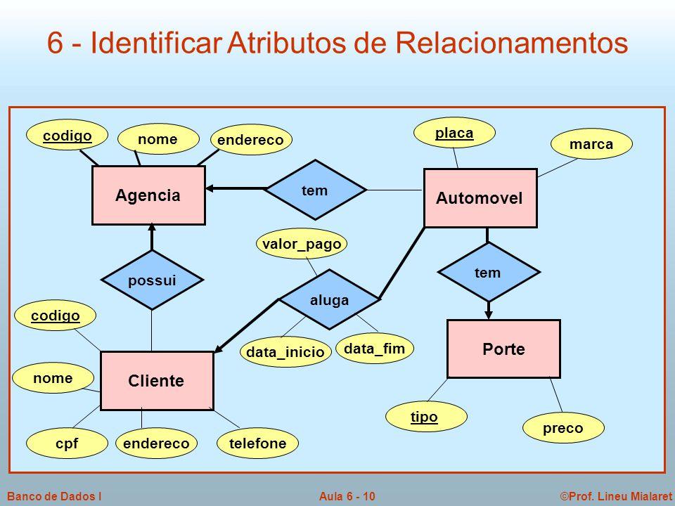 6 - Identificar Atributos de Relacionamentos