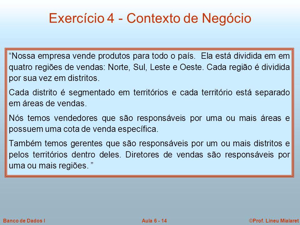 Exercício 4 - Contexto de Negócio