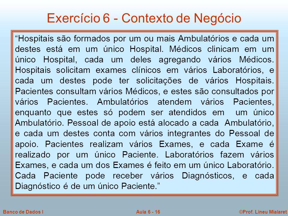 Exercício 6 - Contexto de Negócio
