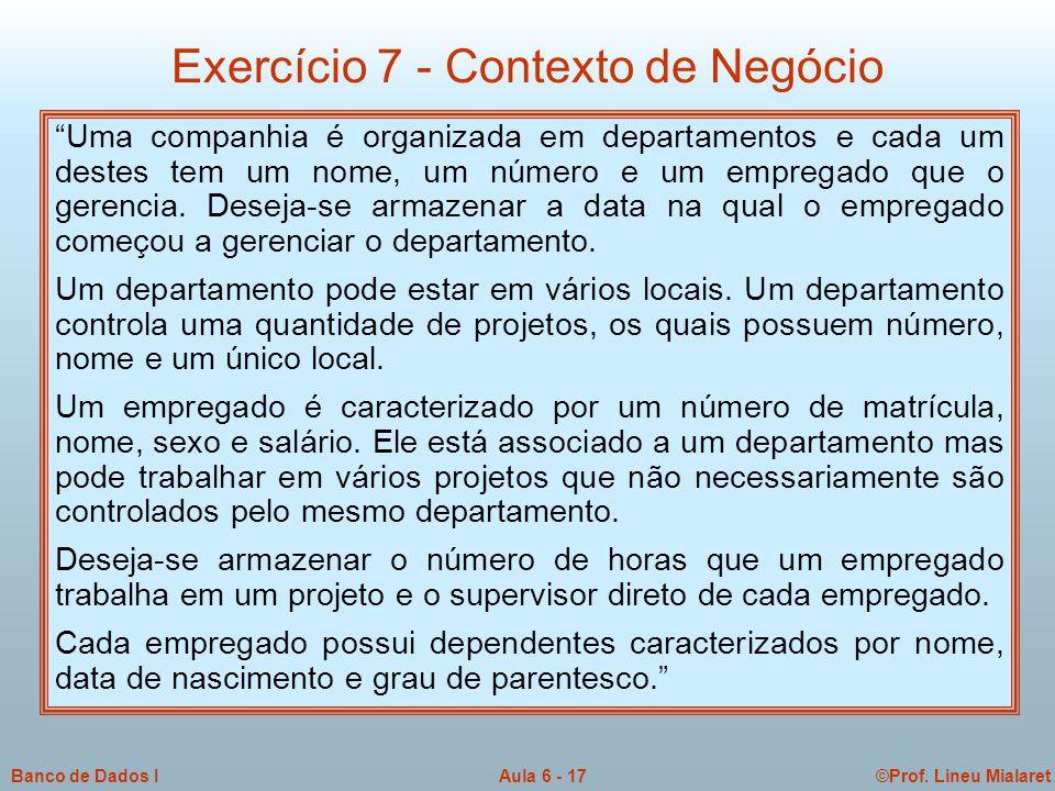 Exercício 7 - Contexto de Negócio