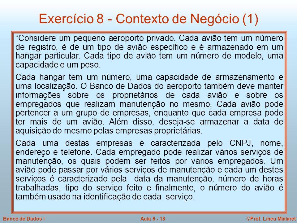 Exercício 8 - Contexto de Negócio (1)