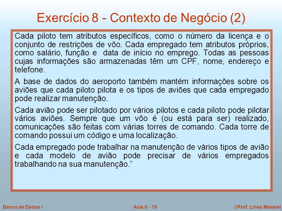 Exercício 8 - Contexto de Negócio (2)