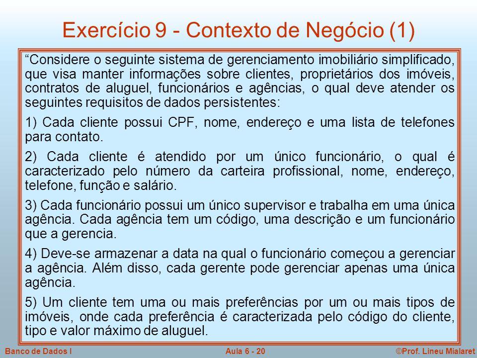 Exercício 9 - Contexto de Negócio (1)