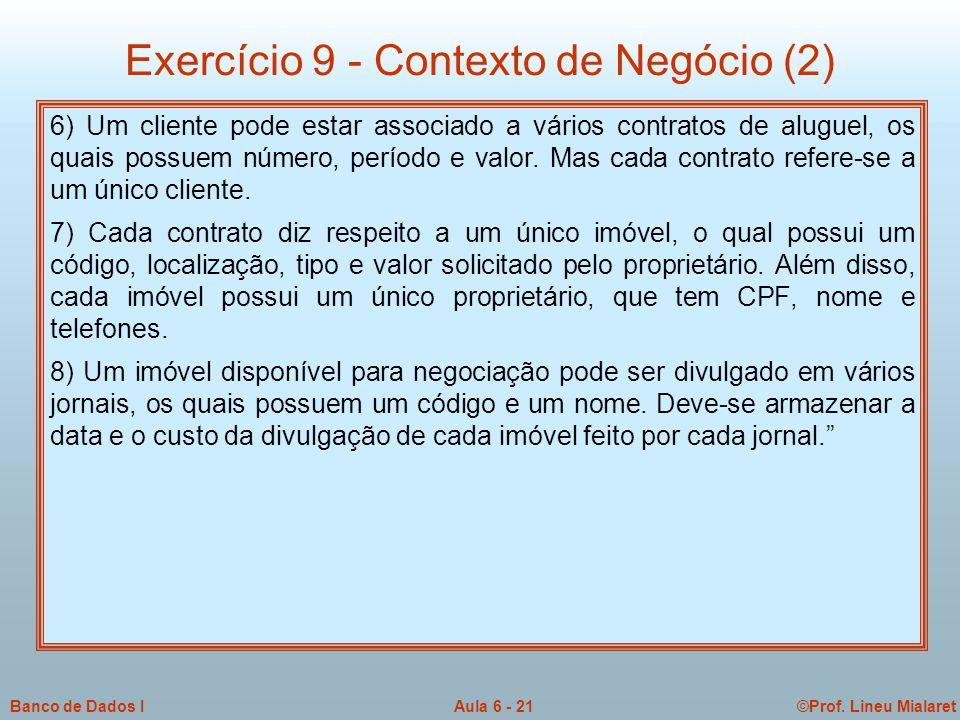 Exercício 9 - Contexto de Negócio (2)
