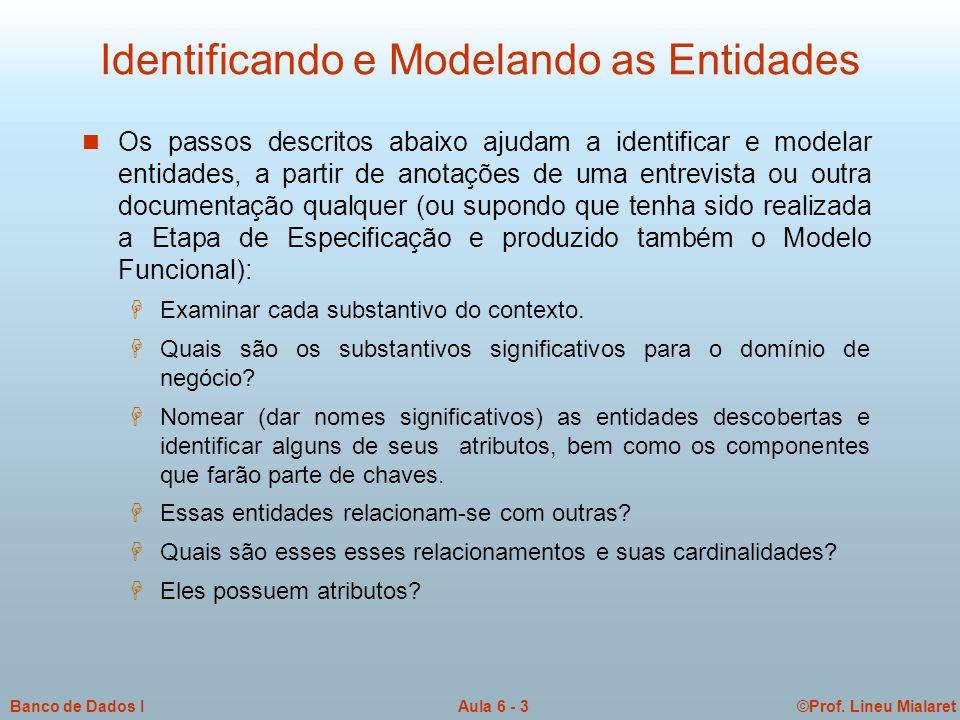Identificando e Modelando as Entidades