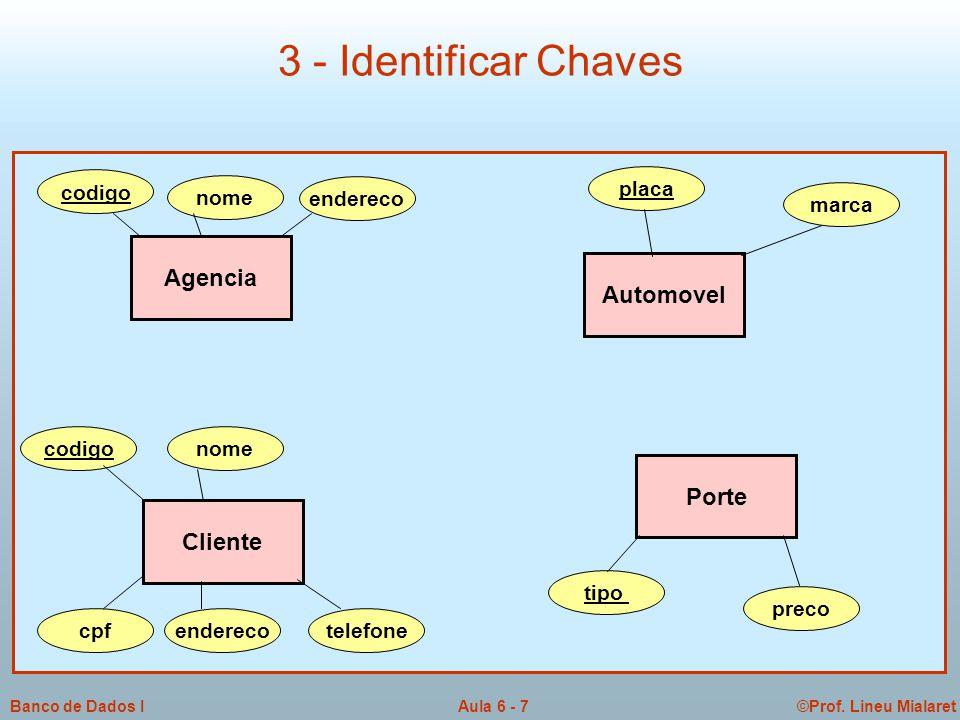 3 - Identificar Chaves Agencia Automovel Porte Cliente codigo placa
