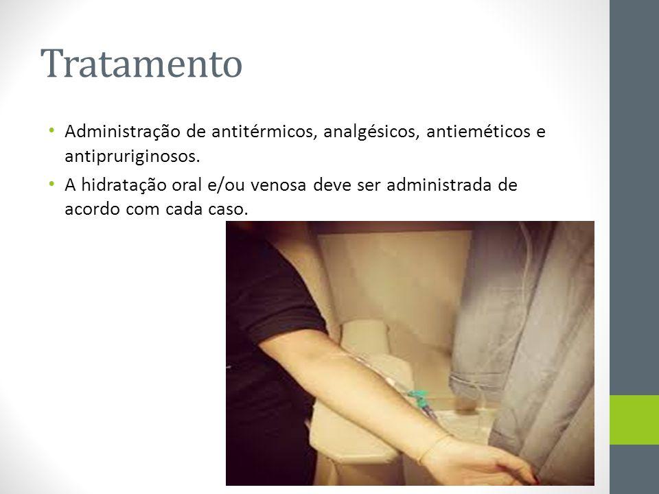 Tratamento Administração de antitérmicos, analgésicos, antieméticos e antipruriginosos.