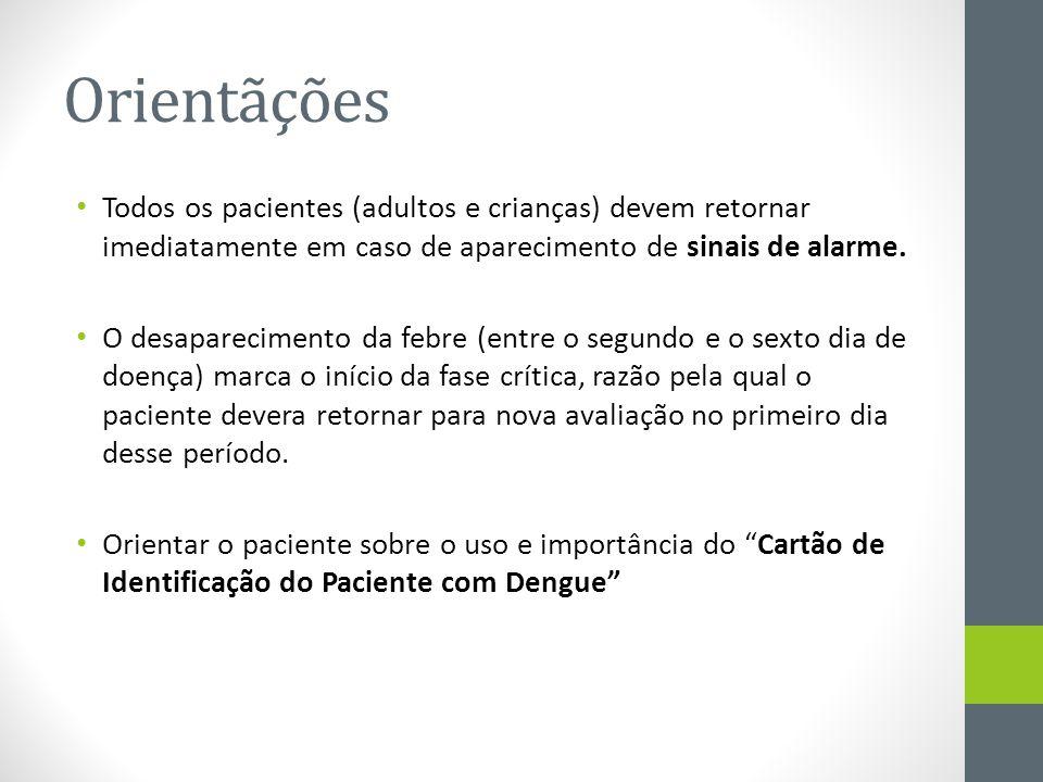 Orientãções Todos os pacientes (adultos e crianças) devem retornar imediatamente em caso de aparecimento de sinais de alarme.