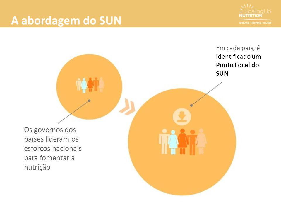 A abordagem do SUN Em cada país, é. identificado um Ponto Focal do SUN.