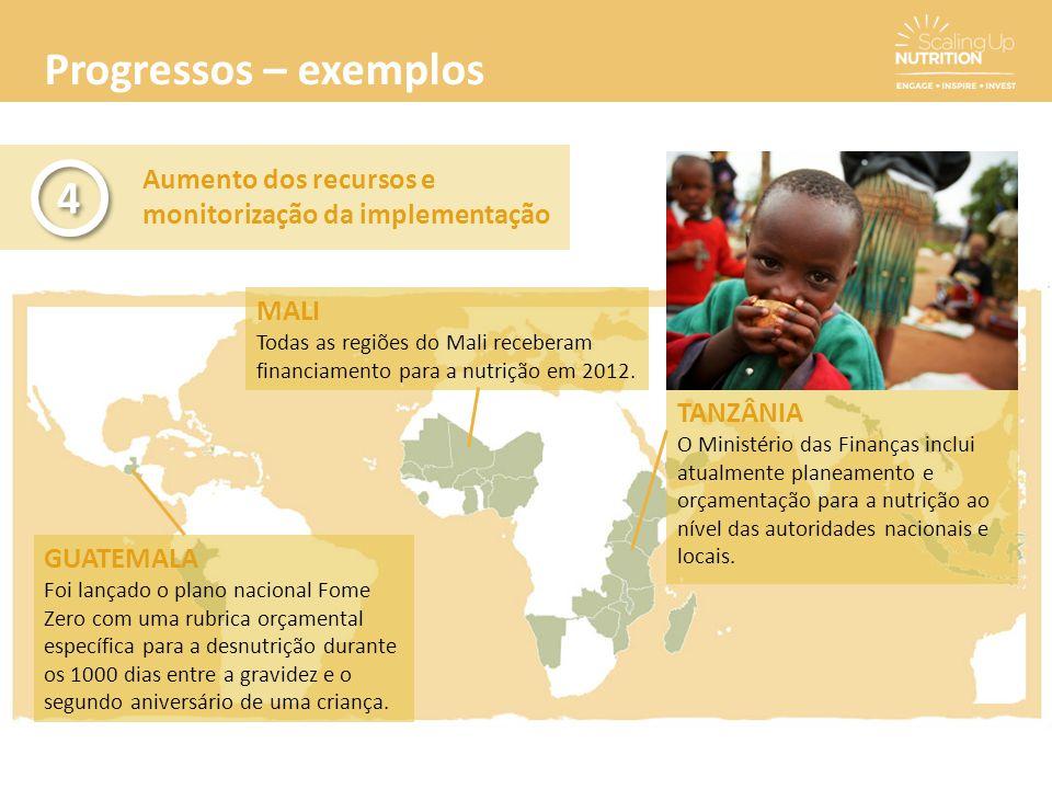 Progressos – exemplos Aumento dos recursos e monitorização da implementação. 4. MALI.