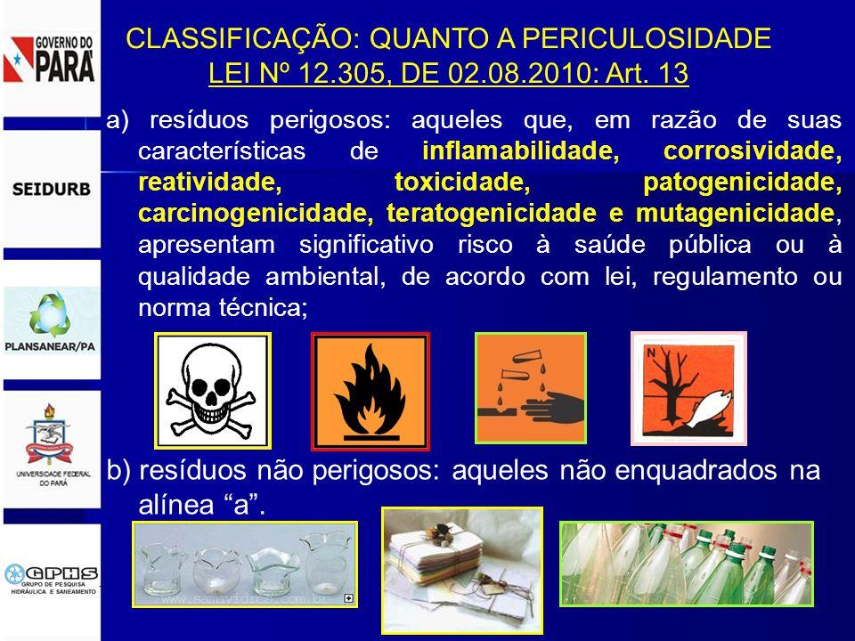 b) resíduos não perigosos: aqueles não enquadrados na alínea a .