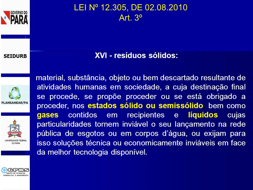 XVI - resíduos sólidos: