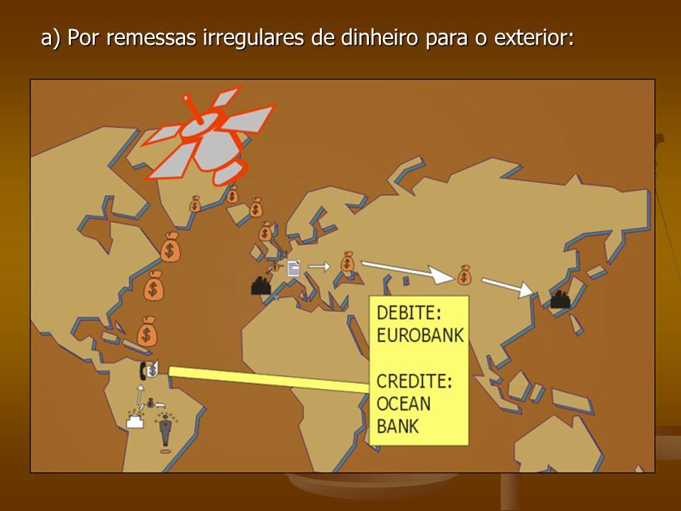 a) Por remessas irregulares de dinheiro para o exterior:
