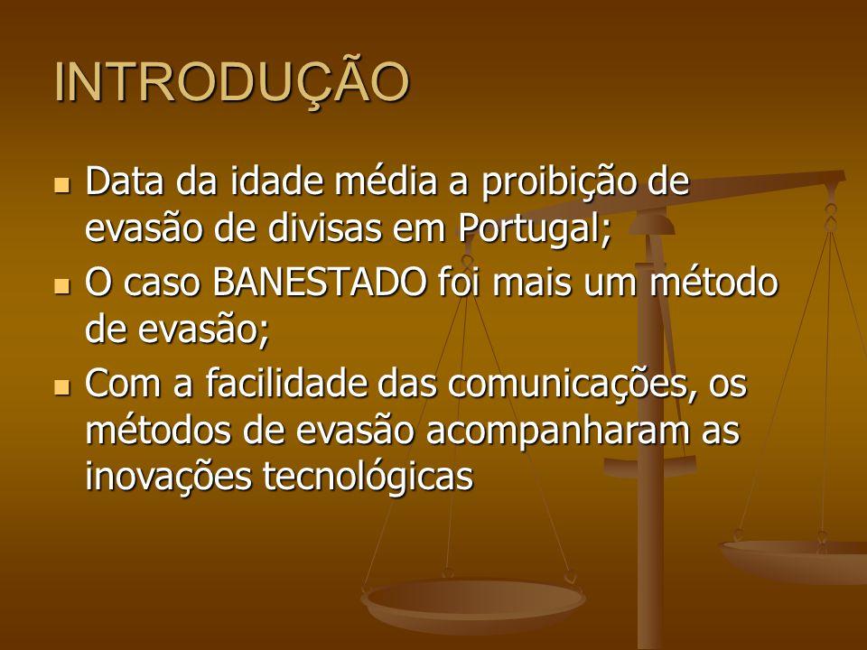 INTRODUÇÃO Data da idade média a proibição de evasão de divisas em Portugal; O caso BANESTADO foi mais um método de evasão;