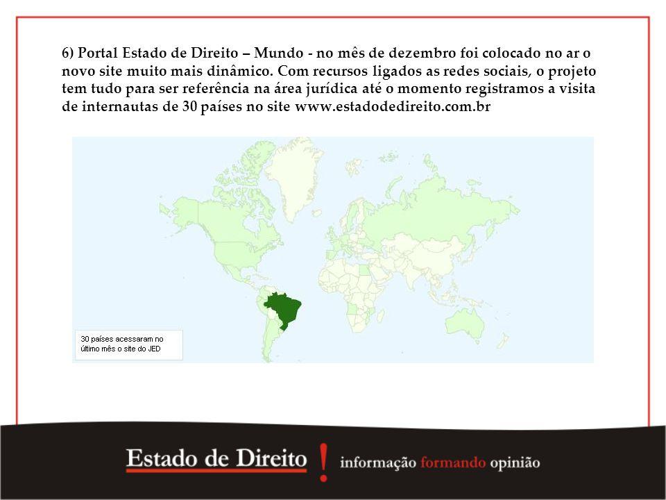 6) Portal Estado de Direito – Mundo - no mês de dezembro foi colocado no ar o novo site muito mais dinâmico.
