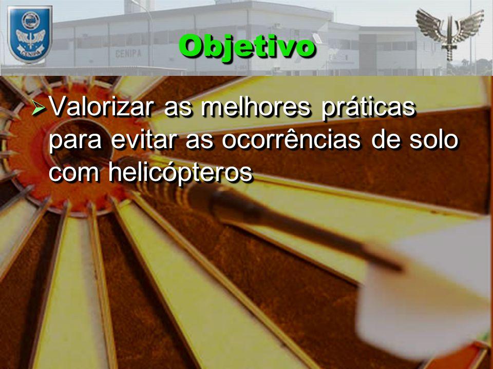Objetivo Valorizar as melhores práticas para evitar as ocorrências de solo com helicópteros