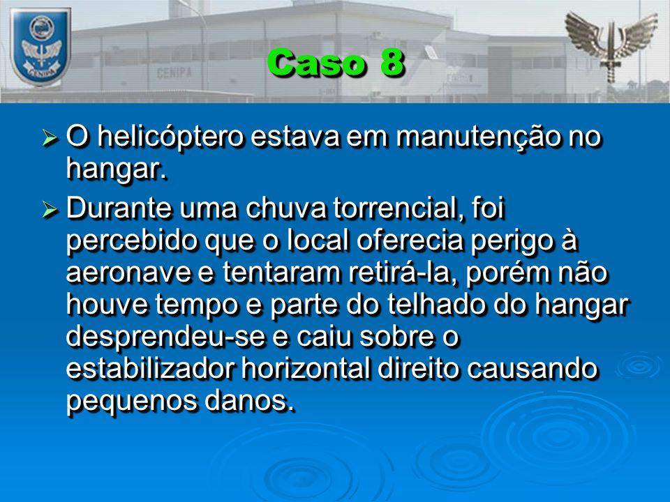 Caso 8 O helicóptero estava em manutenção no hangar.