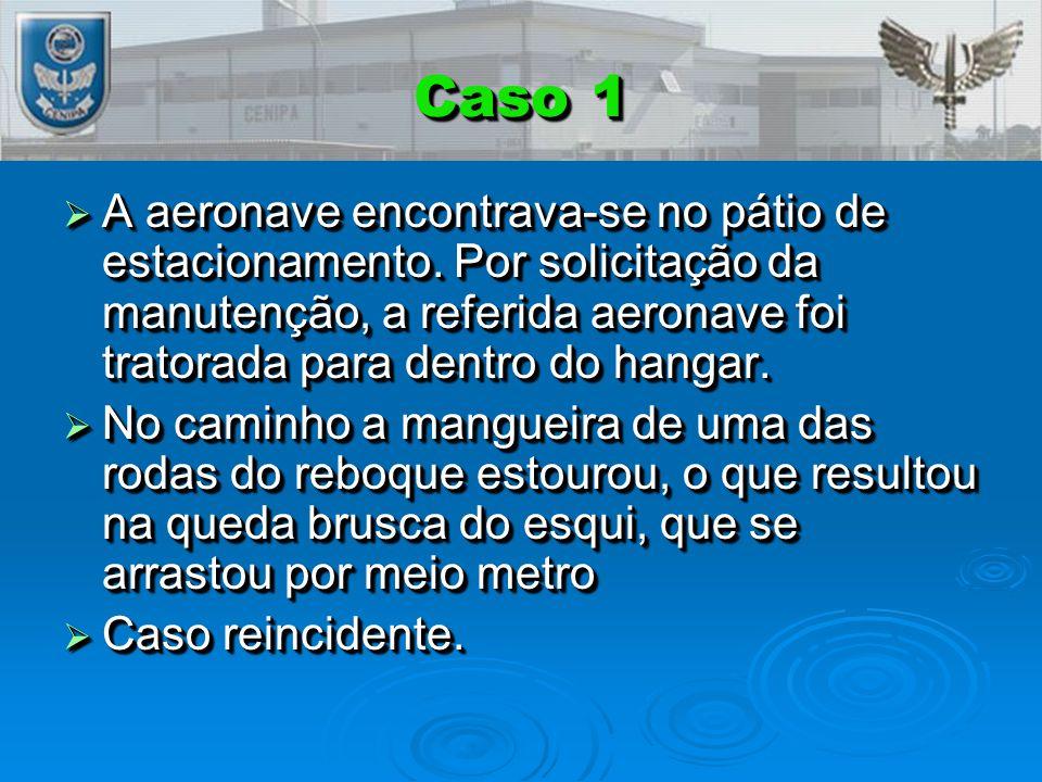 Caso 1 A aeronave encontrava-se no pátio de estacionamento. Por solicitação da manutenção, a referida aeronave foi tratorada para dentro do hangar.