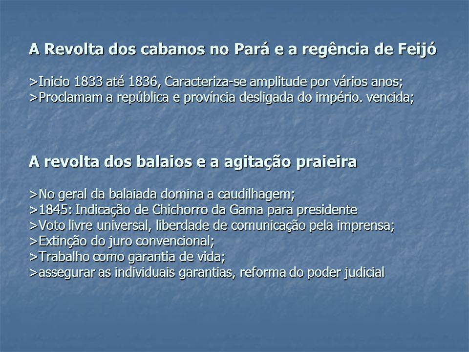 A Revolta dos cabanos no Pará e a regência de Feijó >Inicio 1833 até 1836, Caracteriza-se amplitude por vários anos; >Proclamam a república e província desligada do império.