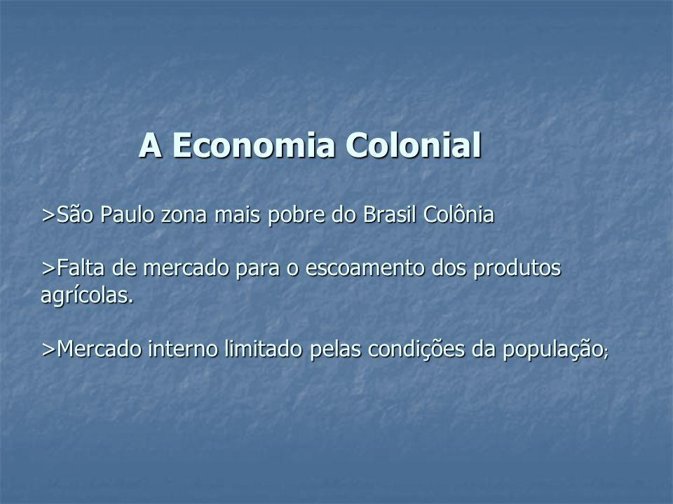 A Economia Colonial >São Paulo zona mais pobre do Brasil Colônia >Falta de mercado para o escoamento dos produtos agrícolas.